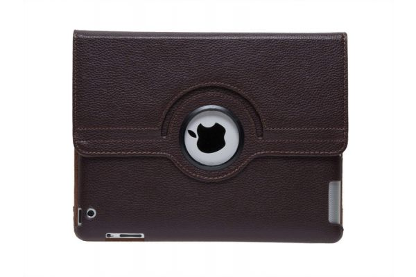 iPad 2-3-4 PU Leren Draaibare Hoes Bruin