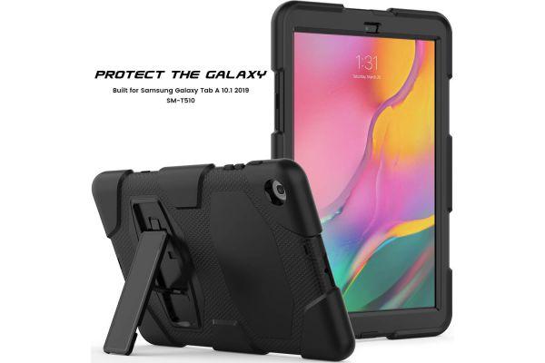 Samsung Tab A 10.1 model 2019 Bumper Case met ingebouwde kickstand zwart