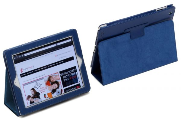 iPad 2-3-4 PU Leren Book Cover Navy/Donkerblauw
