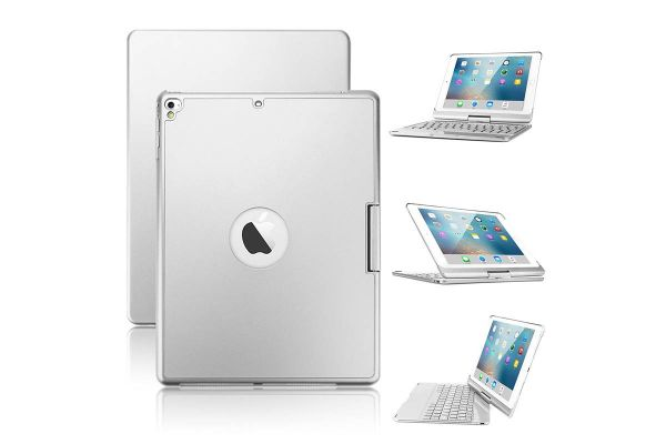 Draaibare iPad 9.7 2018 hoes zilver met bluetooth toetsenbord en led verlichting