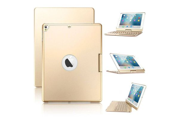Draaibare iPad Air 2 hoes goud met bluetooth toetsenbord en led verlichting