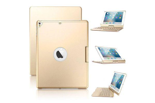 Draaibare iPad 9.7 2018 hoes goud met bluetooth toetsenbord en led verlichting