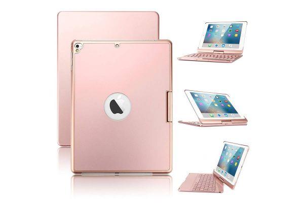 Draaibare iPad 9.7 2017 hoes rose goud met bluetooth toetsenbord en led verlichting