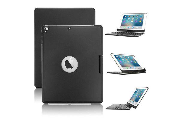 Draaibare iPad 9.7 2018 hoes zwart met bluetooth toetsenbord en led verlichting