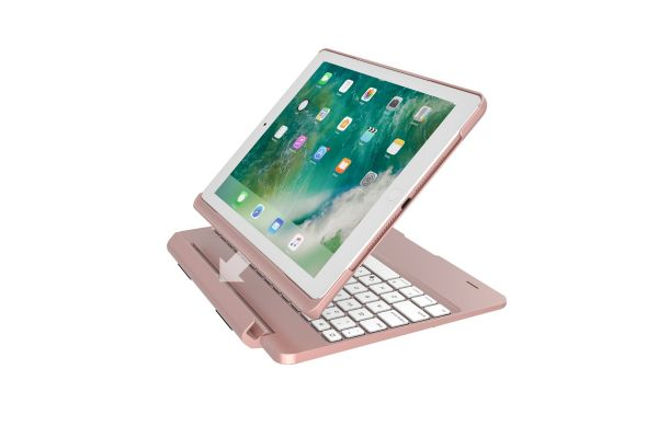 iPad 9.7 2018 Case Bluetooth verlicht Afneembaar Toetsenbord Rose Goud