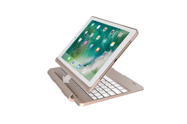 iPad Air 2 Case Bluetooth verlicht Afneembaar Toetsenbord Goud