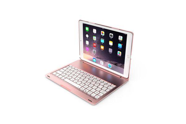 iPad 2019 10.2 inch Case Bluetooth toetsenbord verlicht Rose Goud