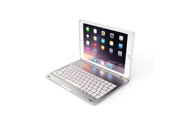 iPad 2019 10.2 inch Case Bluetooth toetsenbord verlicht Zilver