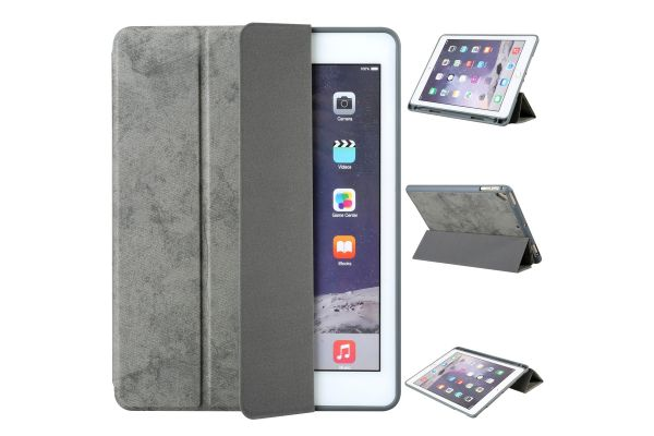 Flipstand Cover iPad Air Suede Look Grijs
