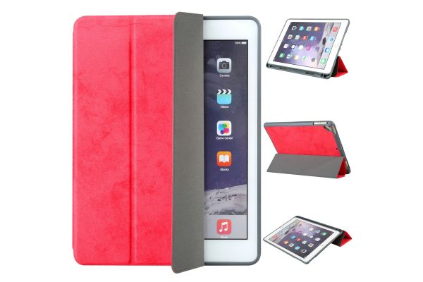 Flipstand Cover iPad Air Suede Look Rood