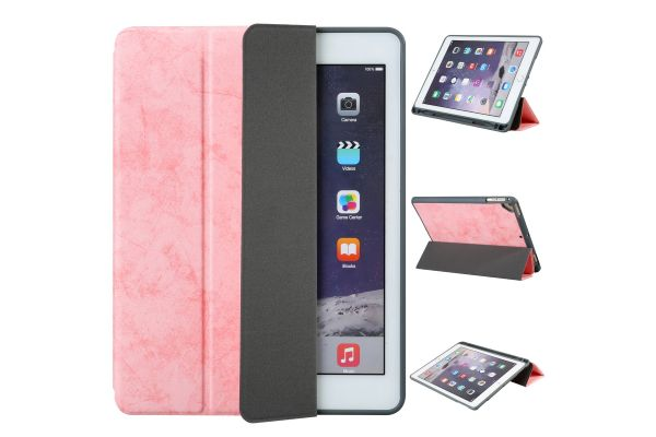 Flipstand Cover iPad Air 2 Suede Look Zalm Roze