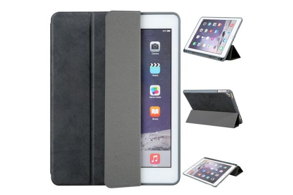 Flipstand Cover iPad Air 2 Suede Look Zwart