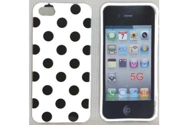 iPhone 5 | 5S Hoesje hardcase Polka Dots Wit-Zwart