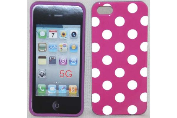 iPhone 5 | 5S Hoesje hardcase Polka Dots Fuchsia-Wit
