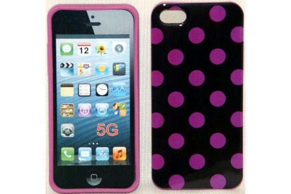 iPhone 5 | 5S Hoesje hardcase Polka Dots Zwart-Paars