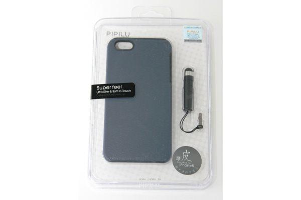 iPhone 5 - 5S  Luxe Hoesje Leer met Stylus Blauw