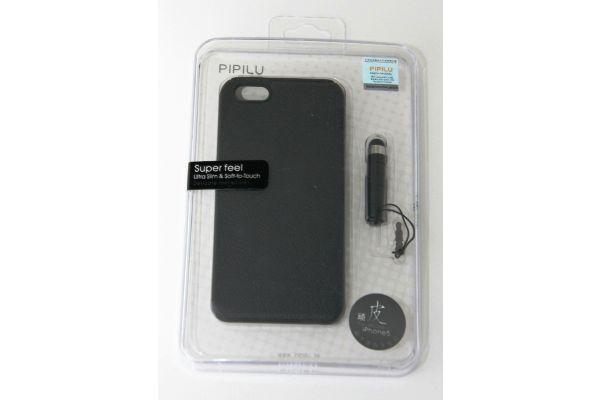 iPhone 5 - 5S  Luxe Hoesje Leer met Stylus Zwart