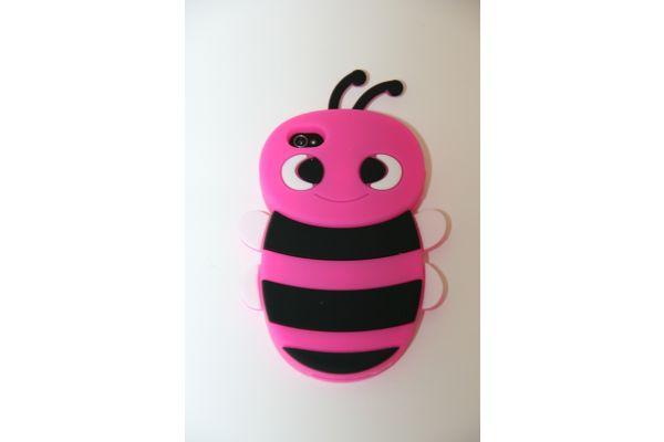 iPhone 4 | 4S Hoesje Schattige Bij Fuchsia-Zwart