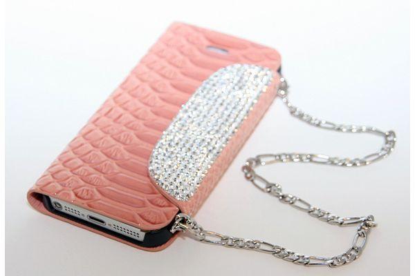 iPhone 5/5S Hoesje-Tasje met Swarovski Crystals Zalm