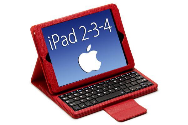 iPad 2-3-4 Luxe hoes met uitneembaar Bluetooth Toetsenbord leer Rood