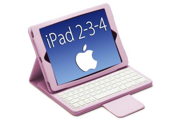 iPad 2-3-4 Luxe hoes met uitneembaar Bluetooth Toetsenbord leer Roze