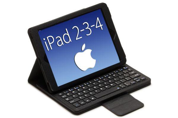 iPad 2-3-4 Luxe hoes met uitneembaar Bluetooth toetsenbord leer Zwart