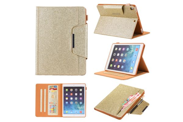 iPad Pro 9.7 Book Cover deluxe goud glitter