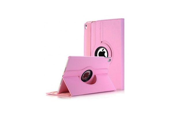 iPad 9.7 (2018) PU leren draaibare hoes roze
