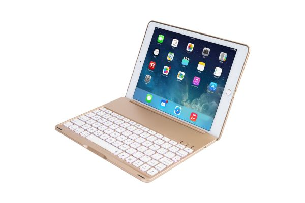 iPad Air 1 Case Bluetooth verlicht toetsenbord Goud