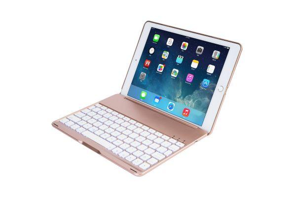 iPad 2018 9.7 inch Case Bluetooth verlicht toetsenbord Rose Goud