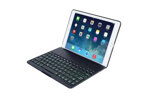 iPad 2018 9.7 inch Azerty Case Bluetooth verlicht toetsenbord Zwart