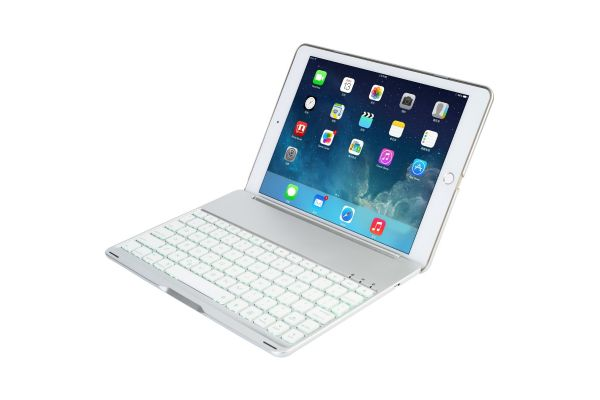 iPad Air 2 Case met Bluetooth verlicht toetsenbord Zilver