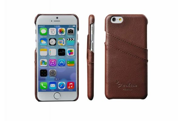 iPhone 6s plus echt lederen back cover / wallet bruin merk Fashion
