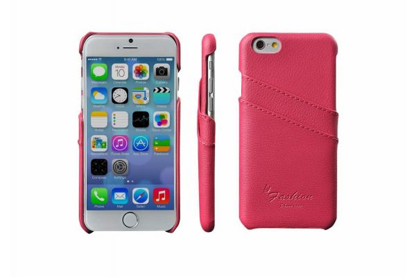 iPhone 6s plus echt lederen back cover / wallet roze merk Fashion
