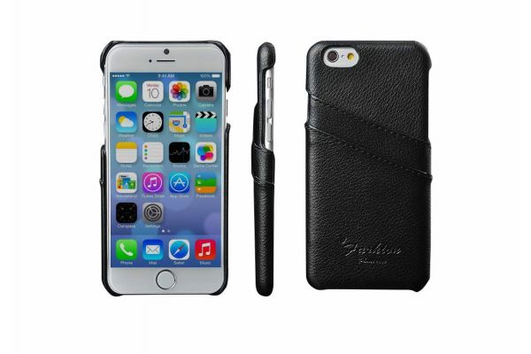 iPhone 6s plus echt lederen back cover / wallet zwart merk Fashion