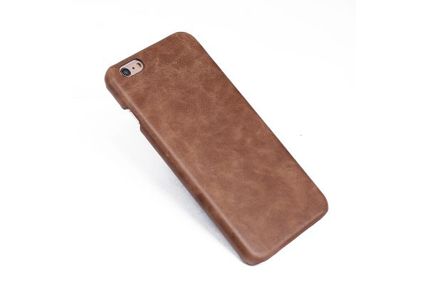 iPhone 6s plus echt lederen back cover bruin merk Fashion