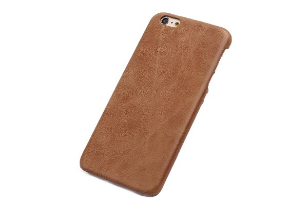 iPhone 6s plus echt lederen back cover beige merk Fashion