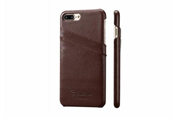 iPhone 7 plus echt lederen back cover / wallet bruin merk Fashion