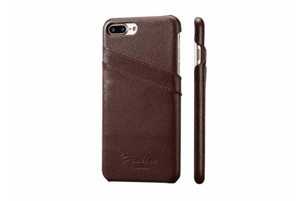 iPhone 8 plus echt lederen back cover / wallet bruin merk Fashion
