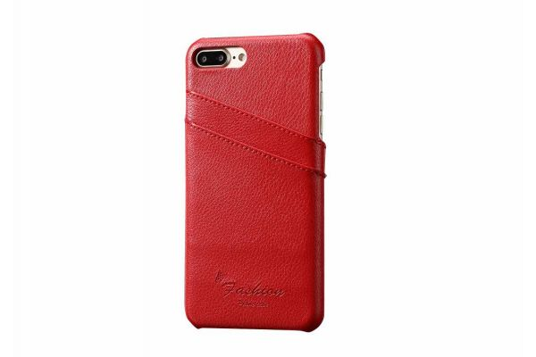 iPhone 8 plus echt lederen back cover / wallet rood merk Fashion