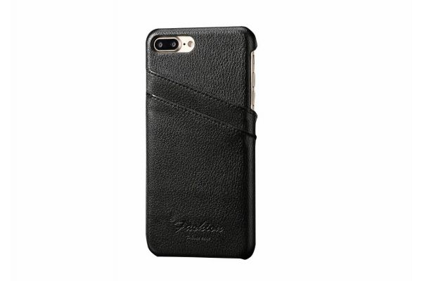 iPhone 8 plus echt lederen back cover / wallet zwart merk Fashion
