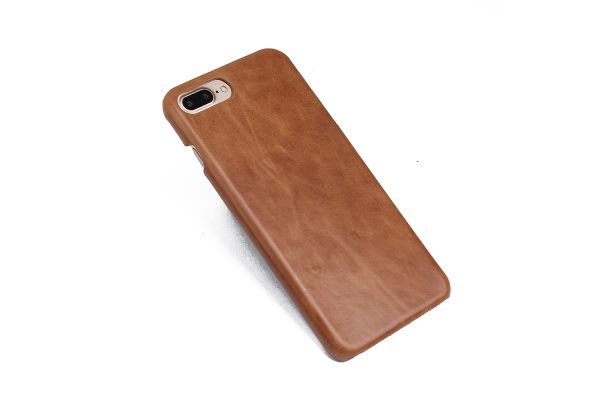 iPhone 7 plus echt lederen back cover beige merk Fashion