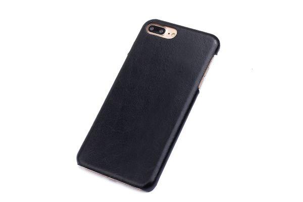iPhone 7 plus echt lederen back cover zwart merk Fashion