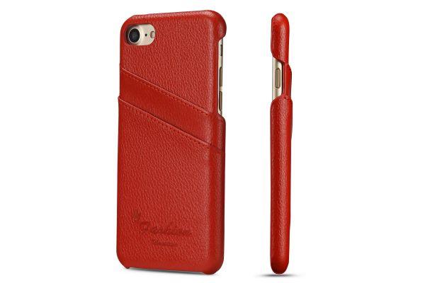 iPhone 7 echt lederen back cover / wallet rood merk Fashion