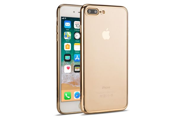 iPhone 8 plus Back Cover TPU Case Transparant Gold