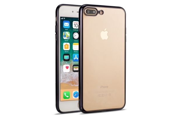 iPhone 8 plus Back Cover TPU Case Transparant zwart