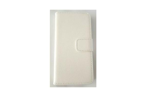 Iphone 7 plus luxe lederen portemonnee hoes met ruimte voor pasjes en brief geld wit