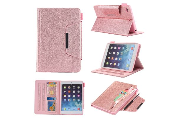 iPad Mini 4  Book Cover deluxe roze glitter