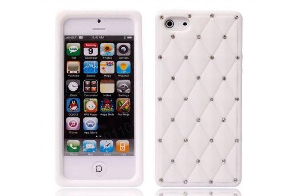iPhone 5 | 5S Hoesje Siliconen met Swarovski steentjes Wit