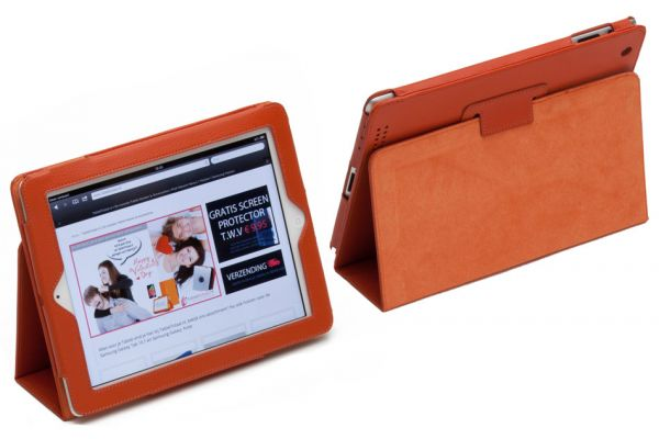 iPad Air 1 Book Cover PU leer Cognac/Oranje